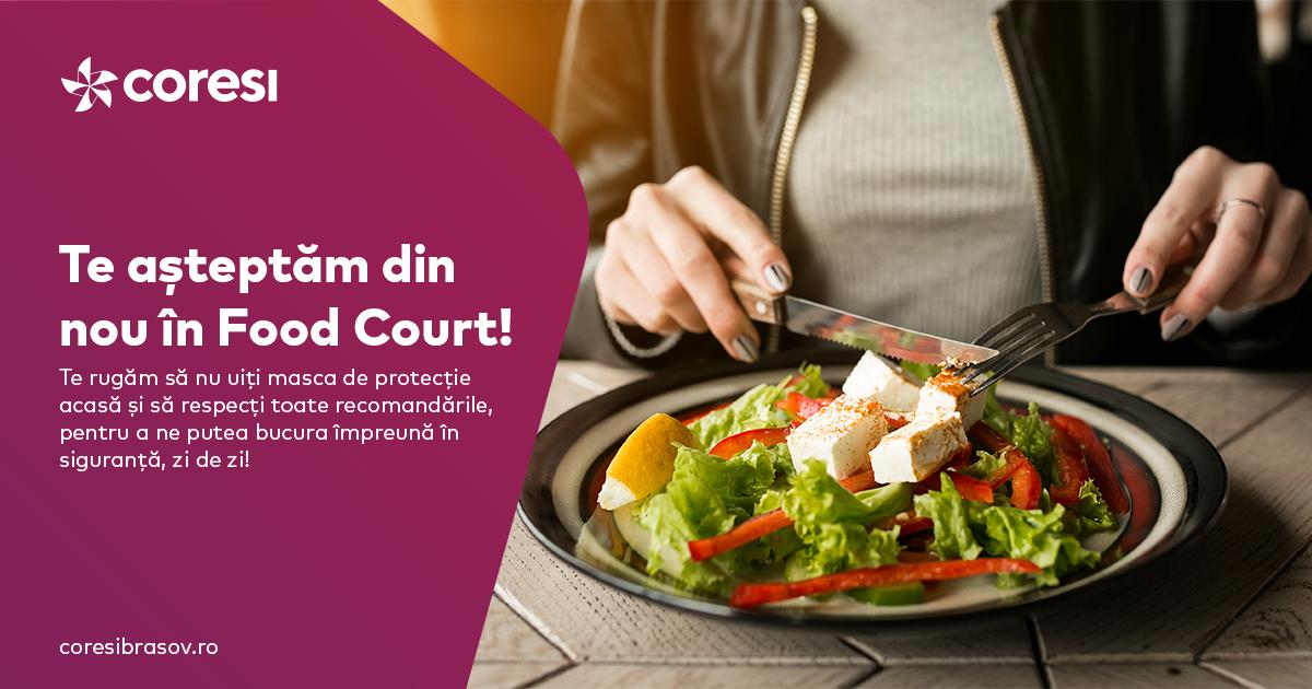 Vești bune pentru gurmanzi! Zona de food court din Coresi s-a redeschis
